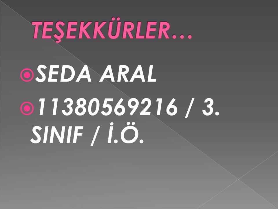 TEŞEKKÜRLER… SEDA ARAL 11380569216 / 3. SINIF / İ.Ö.