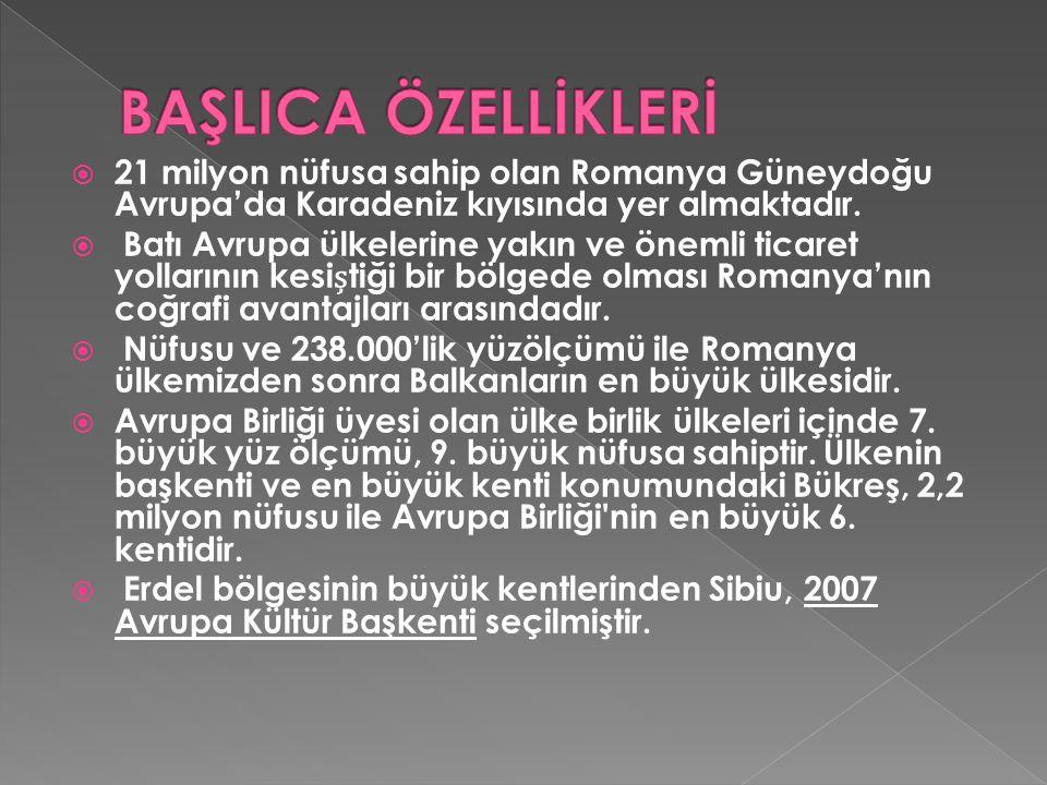 BAŞLICA ÖZELLİKLERİ 21 milyon nüfusa sahip olan Romanya Güneydoğu Avrupa'da Karadeniz kıyısında yer almaktadır.