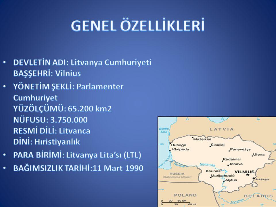 GENEL ÖZELLİKLERİ DEVLETİN ADI: Litvanya Cumhuriyeti BAŞŞEHRİ: Vilnius