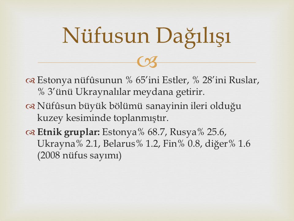 Nüfusun Dağılışı Estonya nüfûsunun % 65'ini Estler, % 28'ini Ruslar, % 3'ünü Ukraynalılar meydana getirir.
