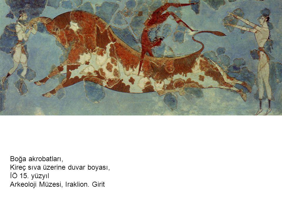 Boğa akrobatları, Kireç sıva üzerine duvar boyası, İÖ 15. yüzyıl Arkeoloji Müzesi, Iraklion. Girit