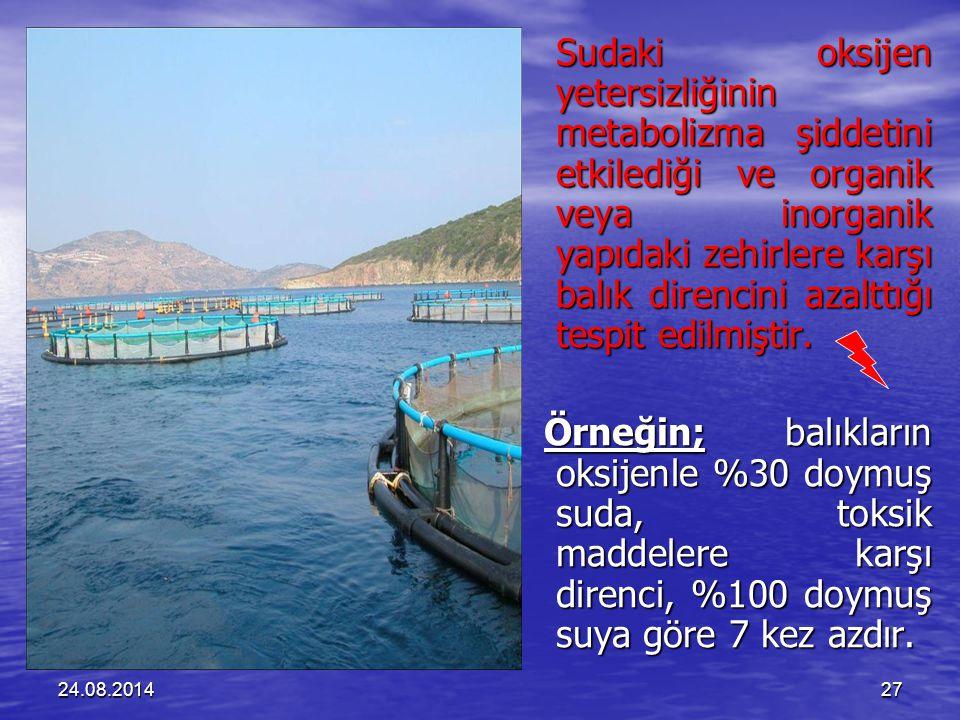 Sudaki oksijen yetersizliğinin metabolizma şiddetini etkilediği ve organik veya inorganik yapıdaki zehirlere karşı balık direncini azalttığı tespit edilmiştir.