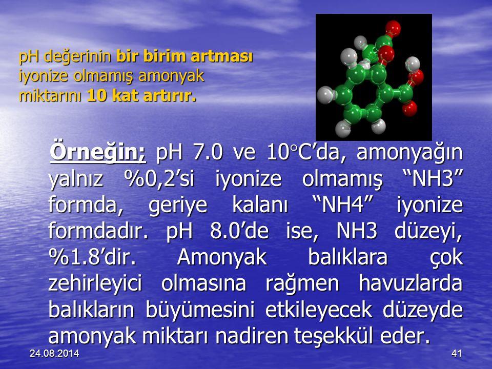 pH değerinin bir birim artması iyonize olmamış amonyak miktarını 10 kat artırır.