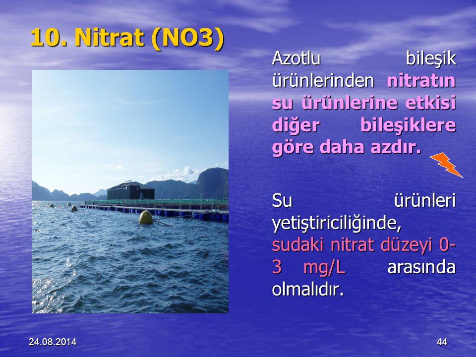 10. Nitrat (NO3) Azotlu bileşik ürünlerinden nitratın su ürünlerine etkisi diğer bileşiklere göre daha azdır.