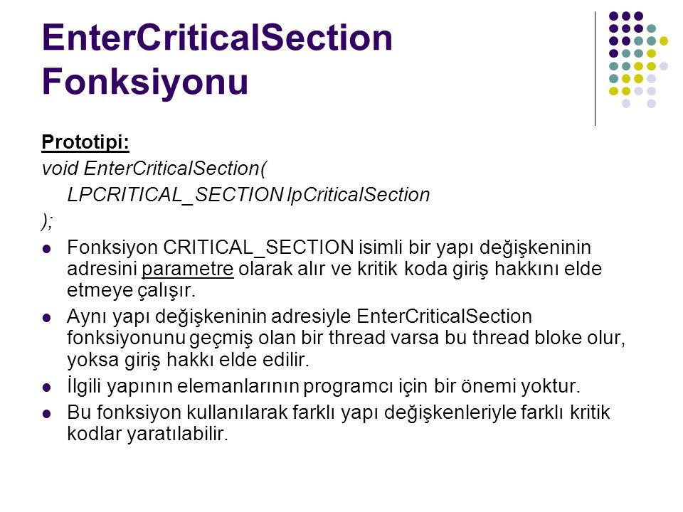 EnterCriticalSection Fonksiyonu