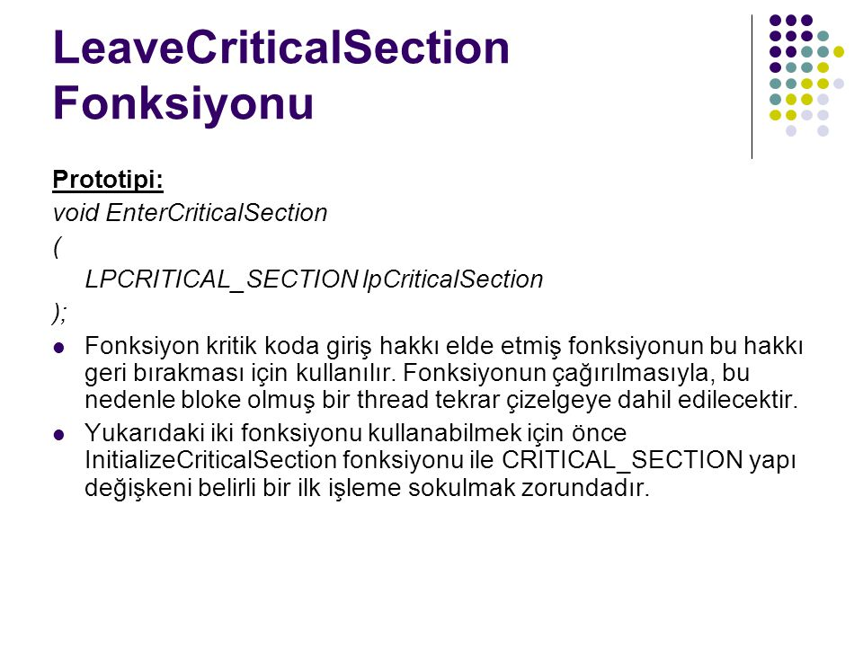 LeaveCriticalSection Fonksiyonu