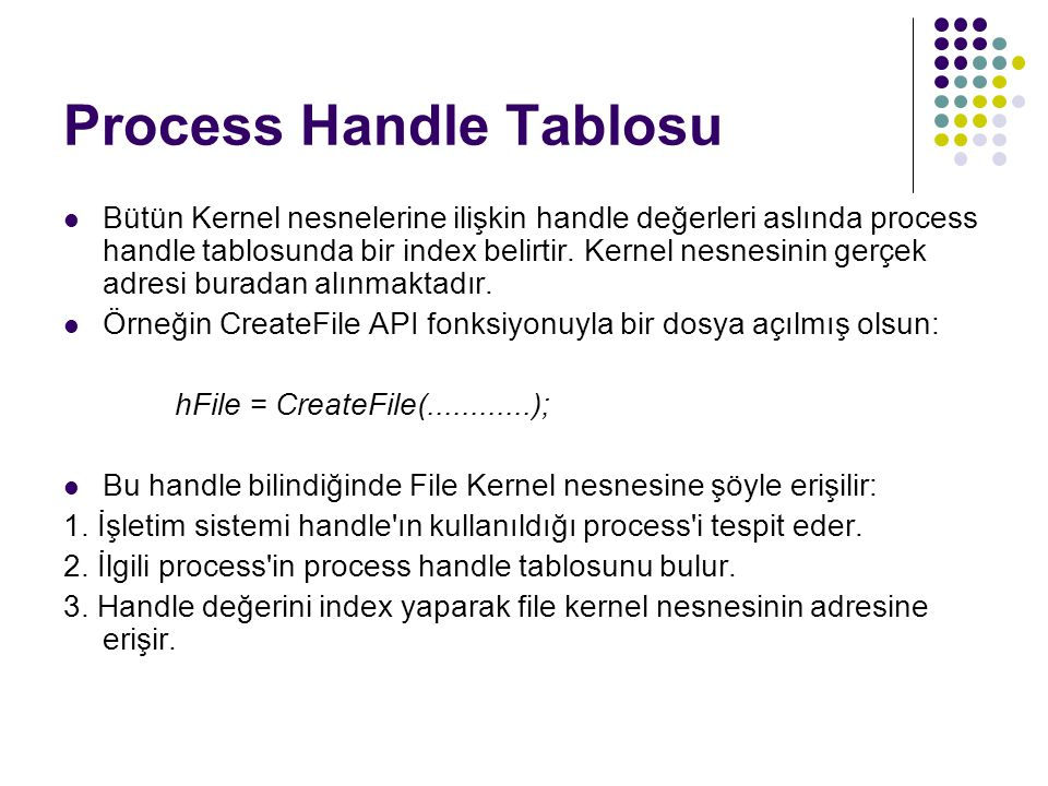Process Handle Tablosu