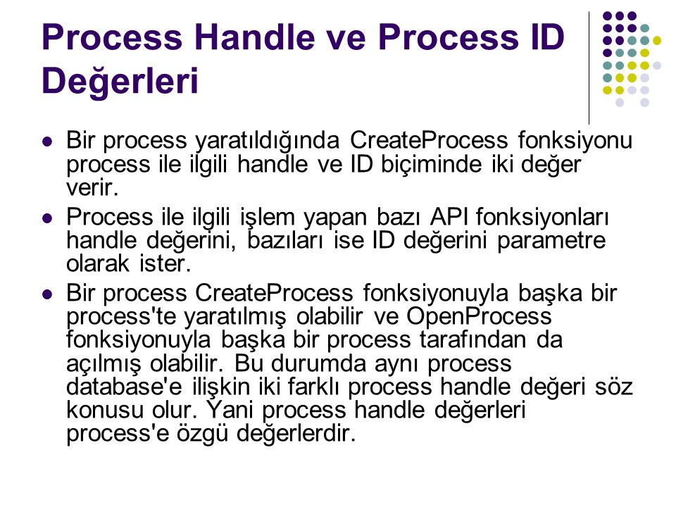 Process Handle ve Process ID Değerleri
