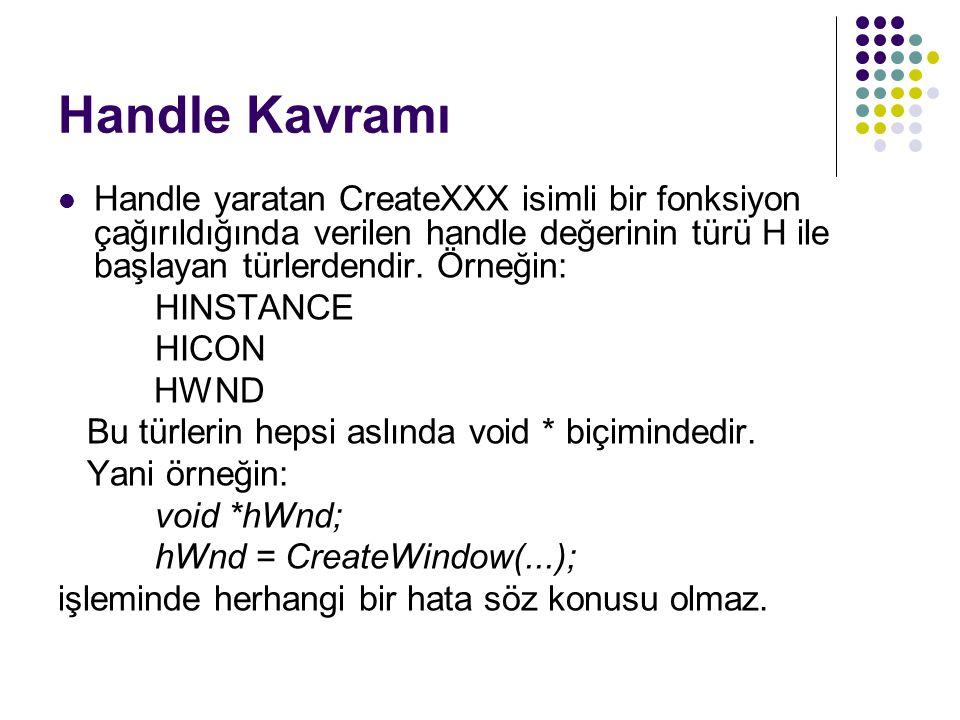 Handle Kavramı Handle yaratan CreateXXX isimli bir fonksiyon çağırıldığında verilen handle değerinin türü H ile başlayan türlerdendir. Örneğin: