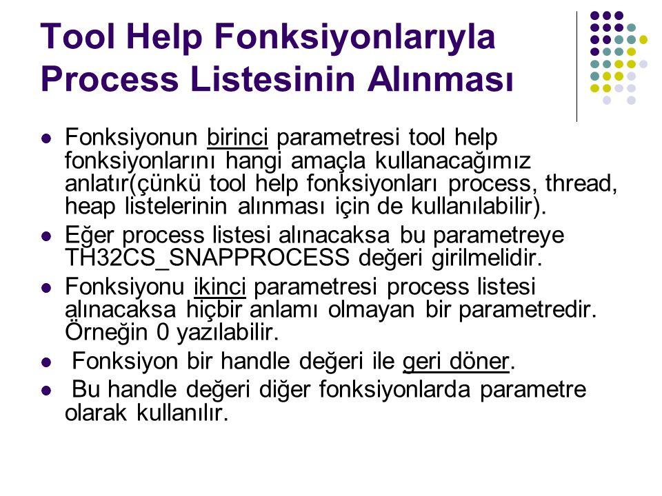 Tool Help Fonksiyonlarıyla Process Listesinin Alınması