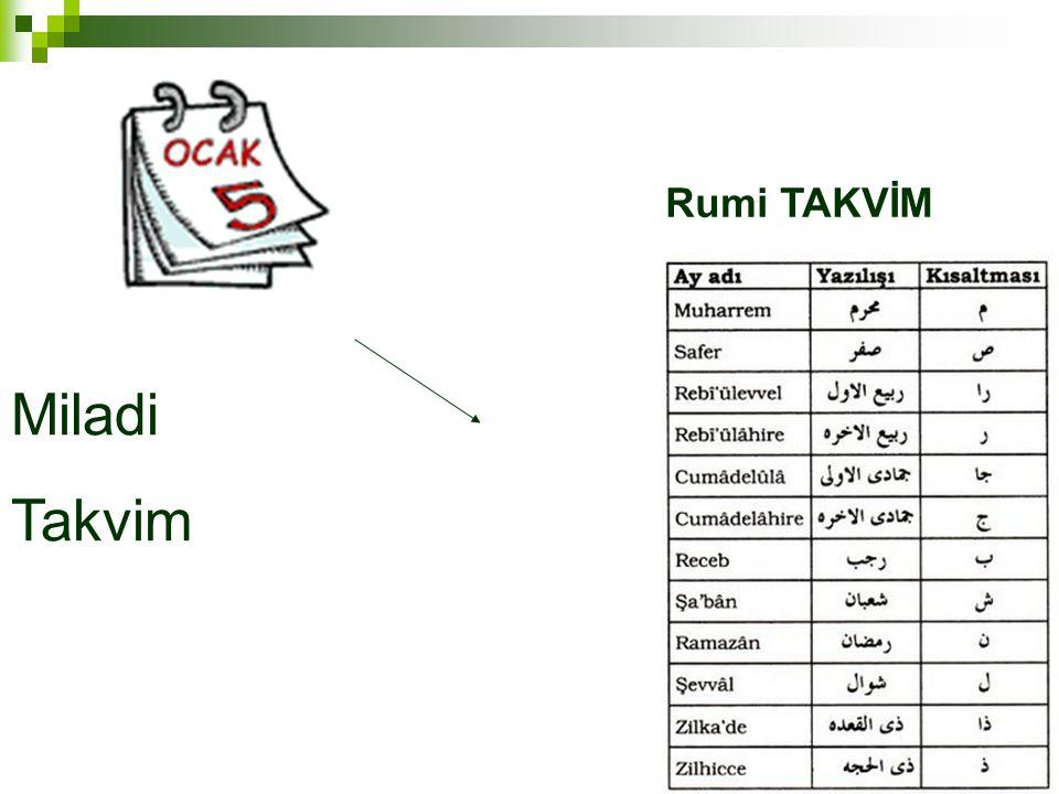 Rumi TAKVİM Miladi Takvim