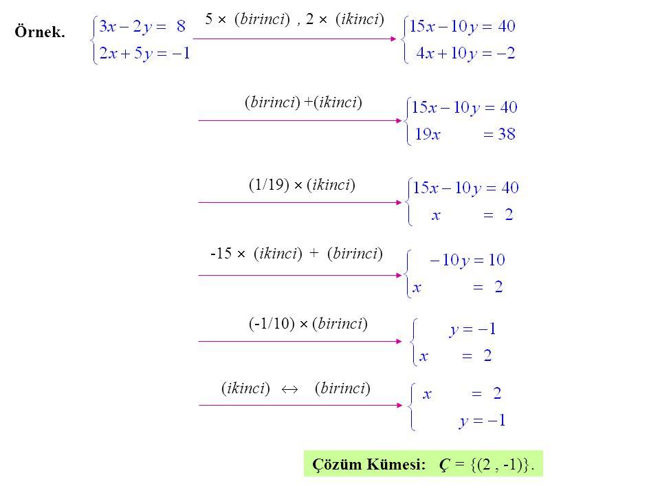 5  (birinci) , 2  (ikinci) Örnek. (birinci) +(ikinci) (1/19)  (ikinci) -15  (ikinci) + (birinci)