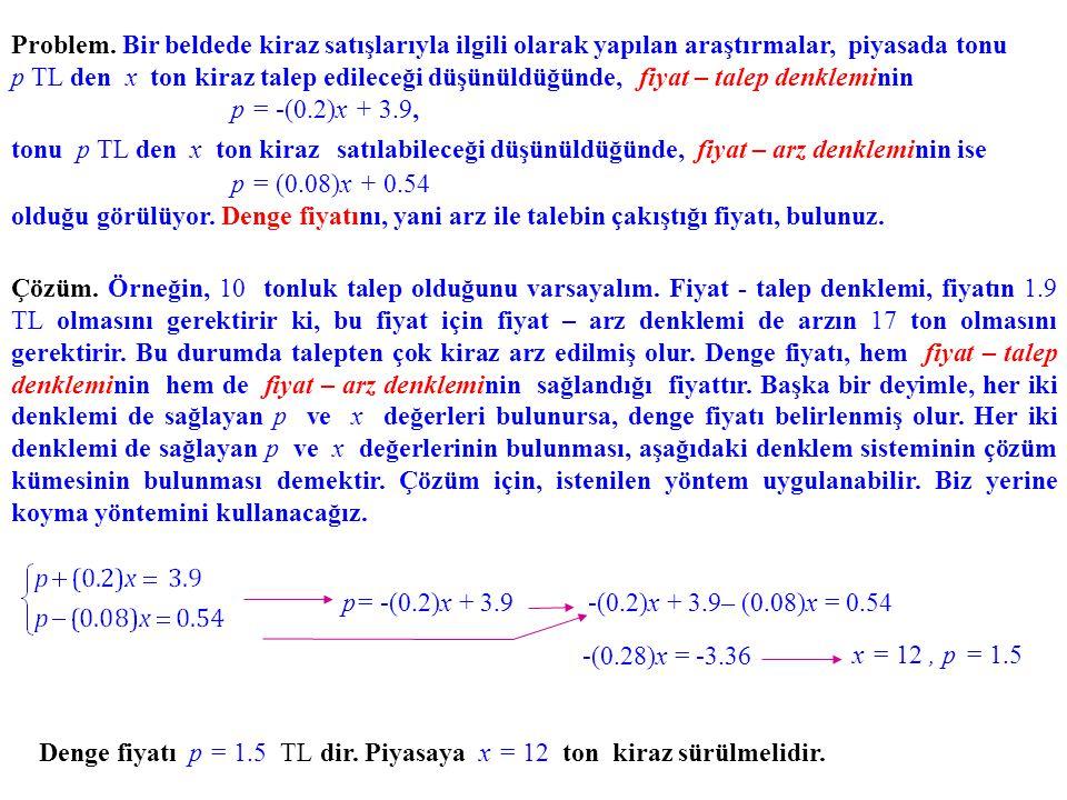 Problem. Bir beldede kiraz satışlarıyla ilgili olarak yapılan araştırmalar, piyasada tonu p TL den x ton kiraz talep edileceği düşünüldüğünde, fiyat – talep denkleminin p = -(0.2)x + 3.9, tonu p TL den x ton kiraz satılabileceği düşünüldüğünde, fiyat – arz denkleminin ise p = (0.08)x + 0.54 olduğu görülüyor. Denge fiyatını, yani arz ile talebin çakıştığı fiyatı, bulunuz.