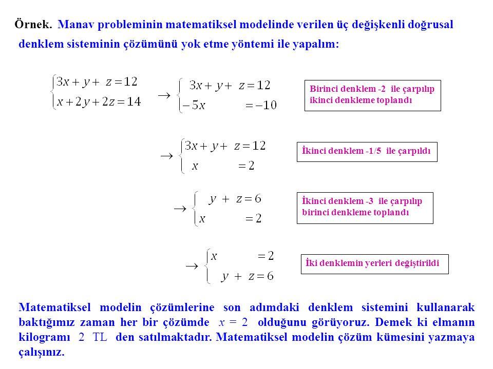 denklem sisteminin çözümünü yok etme yöntemi ile yapalım: