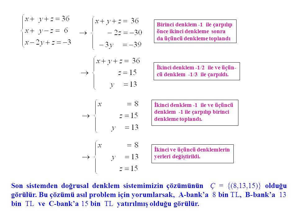 Birinci denklem -1 ile çarpılıp önce ikinci denkleme sonra da üçüncü denkleme toplandı