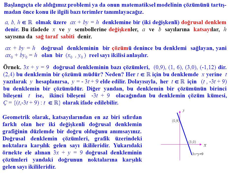 Başlangıçta ele aldığımız problemi ya da onun matematiksel modelinin çözümünü tartış-madan önce konu ile ilgili bazı terimler tanımlayacağız.