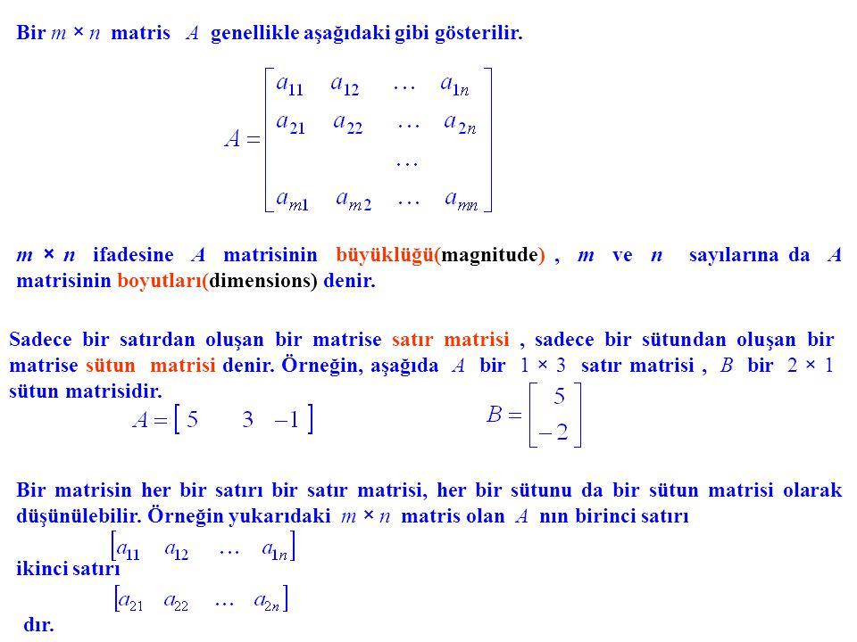 Bir m × n matris A genellikle aşağıdaki gibi gösterilir.