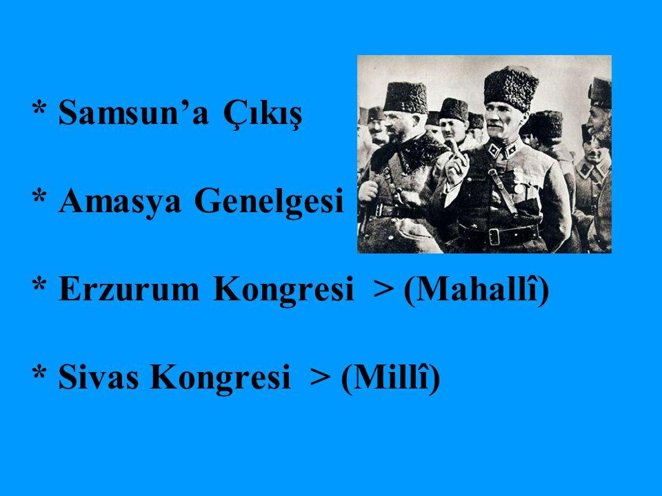 Samsun'a Çıkış. Amasya Genelgesi. Erzurum Kongresi > (Mahallî)