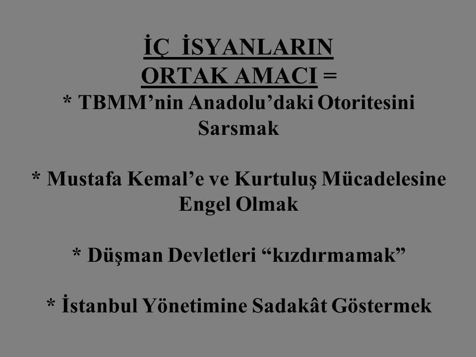 İÇ İSYANLARIN ORTAK AMACI =. TBMM'nin Anadolu'daki Otoritesini Sarsmak
