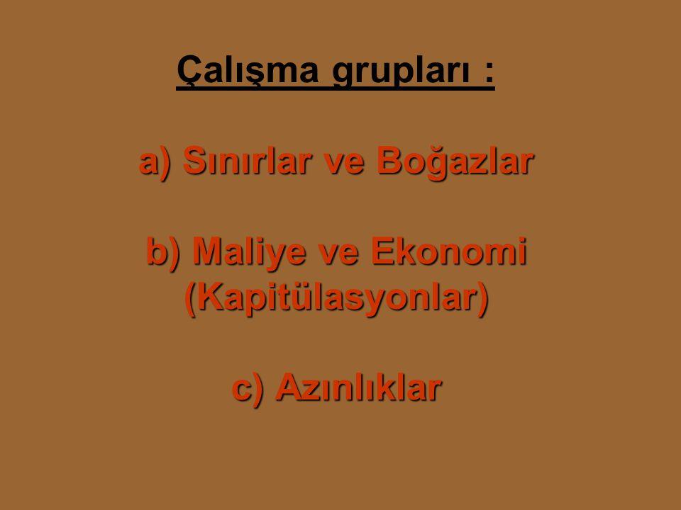Çalışma grupları : a) Sınırlar ve Boğazlar b) Maliye ve Ekonomi (Kapitülasyonlar) c) Azınlıklar