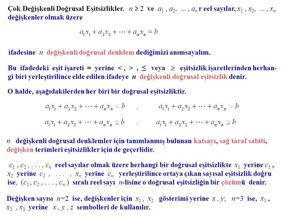 ifadesine n değişkenli doğrusal denklem dediğimizi anımsayalım.