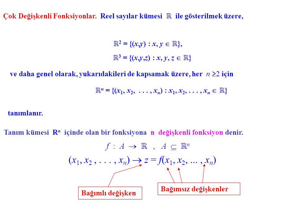 (x1, x2 , . . . , xn)  z = f(x1, x2, ... , xn) f : A  ℝ , A  ℝn