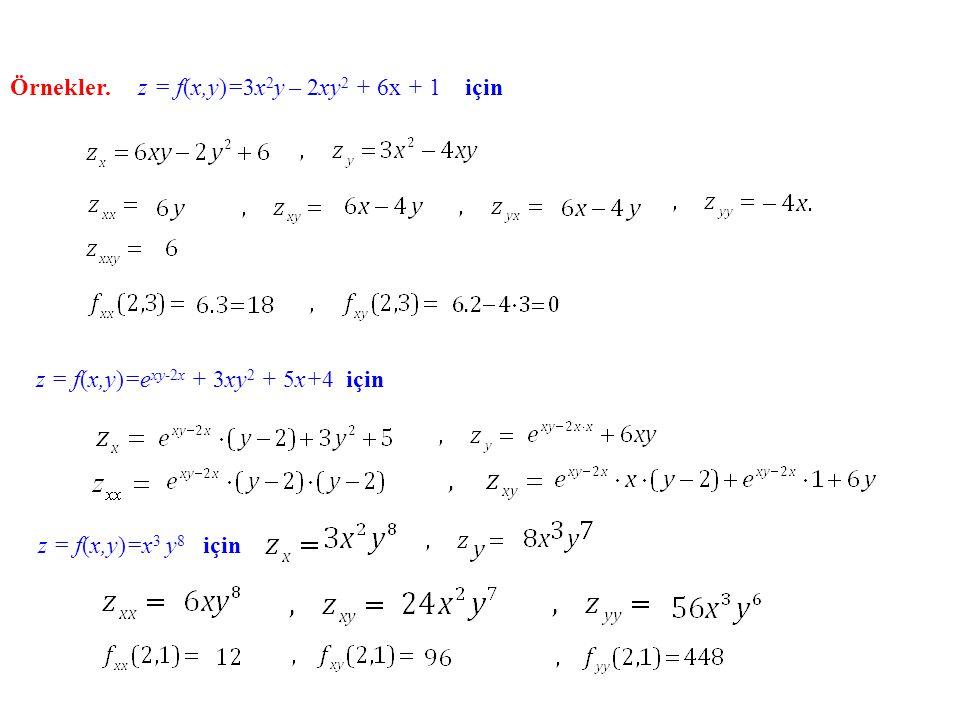 Örnekler. z = f(x,y)=3x2y – 2xy2 + 6x + 1 için