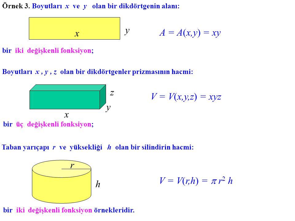 y x A = A(x,y) = xy z V = V(x,y,z) = xyz y x r V = V(r,h) =  r2 h h
