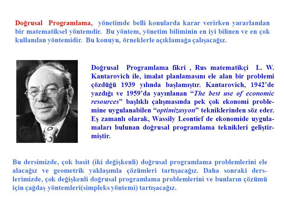 Doğrusal Programlama, yönetimde belli konularda karar verirken yararlanılan bir matematiksel yöntemdir. Bu yöntem, yönetim biliminin en iyi bilinen ve en çok kullanılan yöntemidir. Bu konuyu, örneklerle açıklamağa çalışacağız.