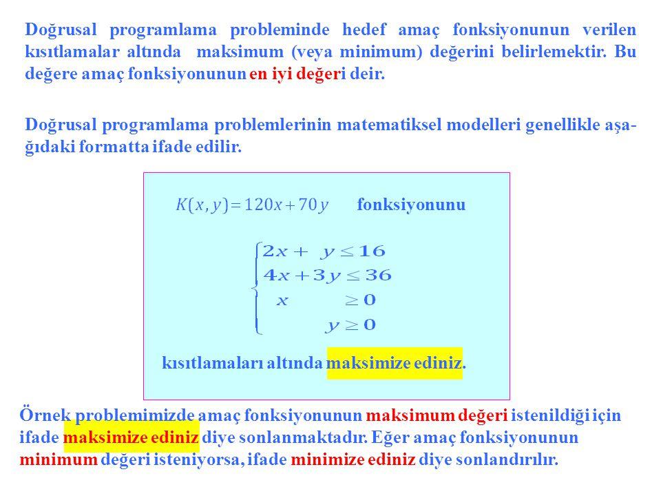 Doğrusal programlama probleminde hedef amaç fonksiyonunun verilen kısıtlamalar altında maksimum (veya minimum) değerini belirlemektir. Bu değere amaç fonksiyonunun en iyi değeri deir.