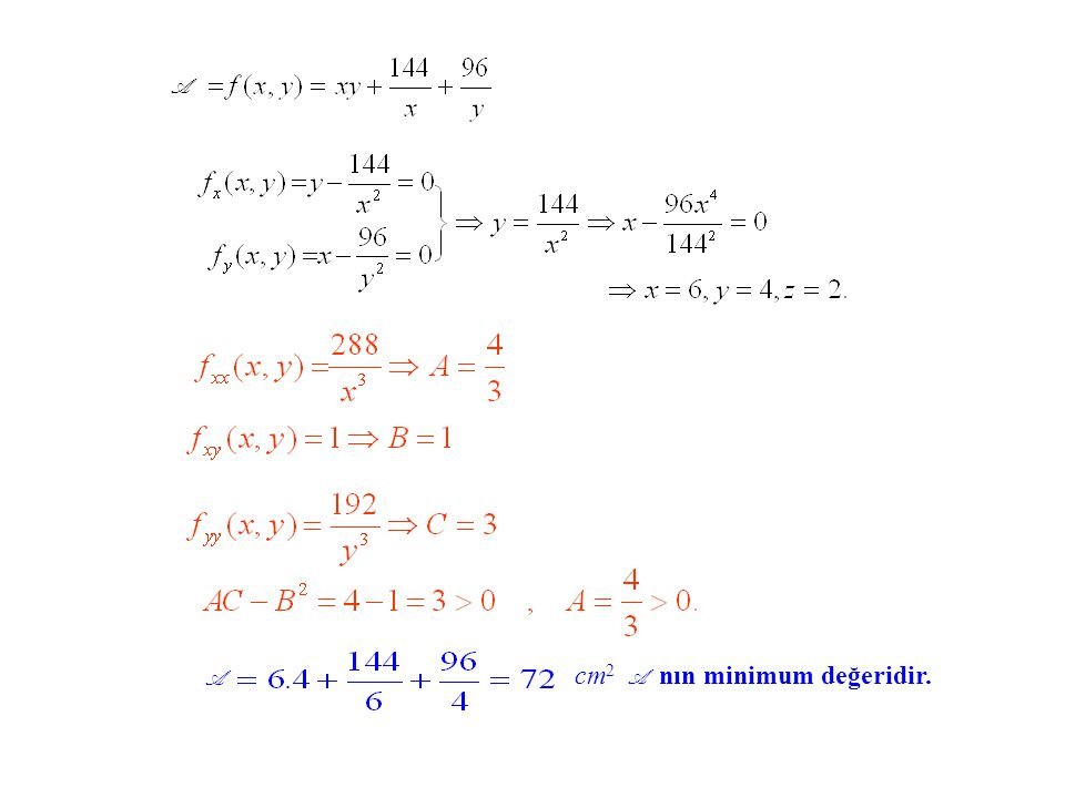 A A cm2 A nın minimum değeridir.