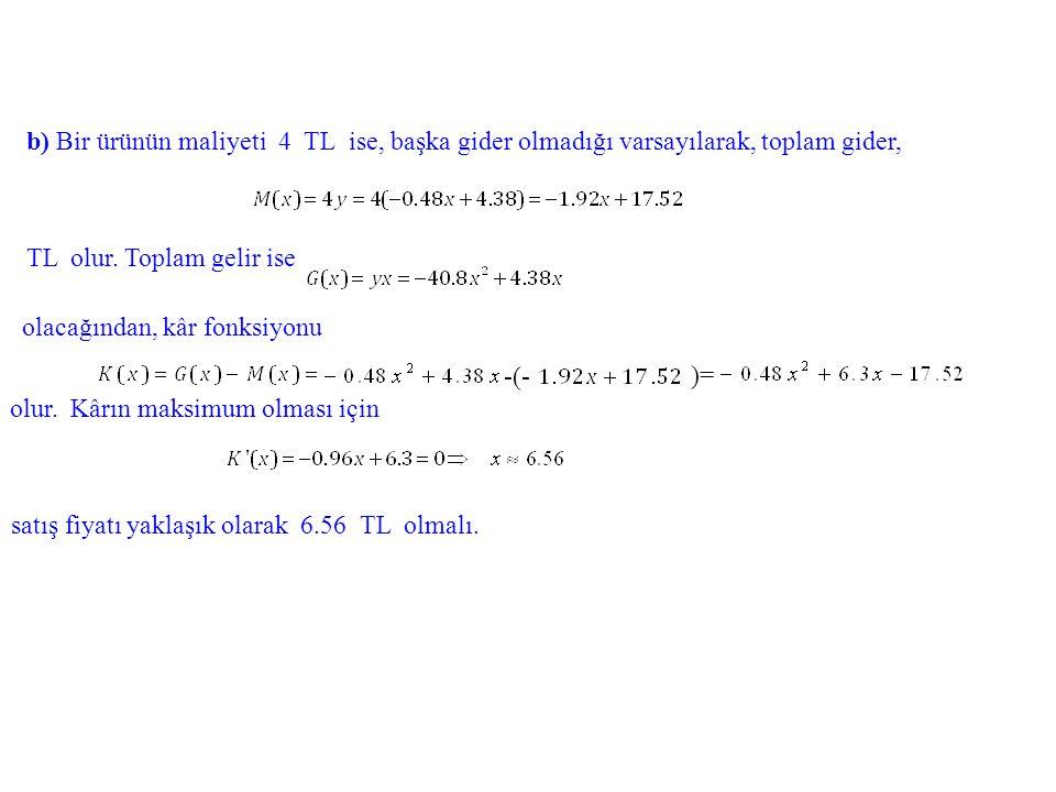 b) Bir ürünün maliyeti 4 TL ise, başka gider olmadığı varsayılarak, toplam gider,
