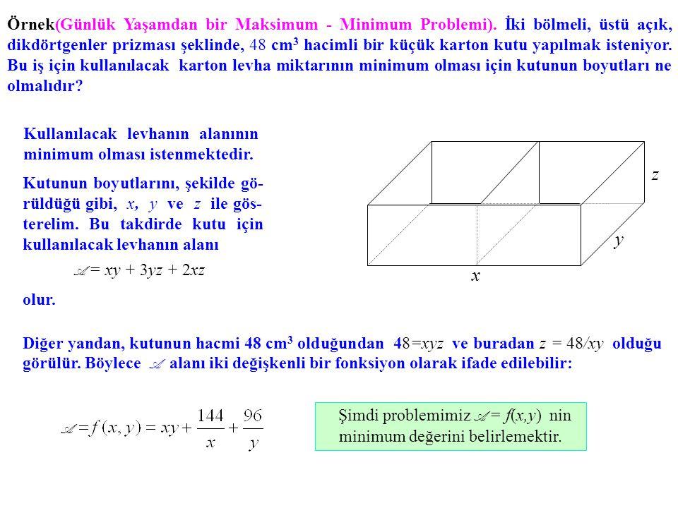 Şimdi problemimiz A = f(x,y) nin minimum değerini belirlemektir.