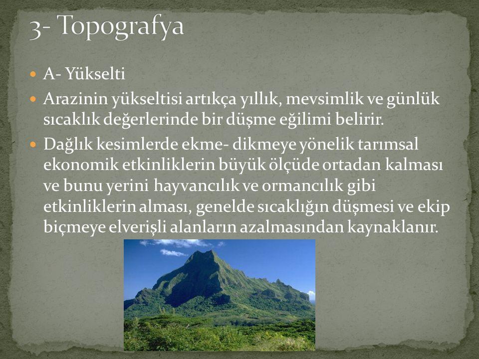 3- Topografya A- Yükselti