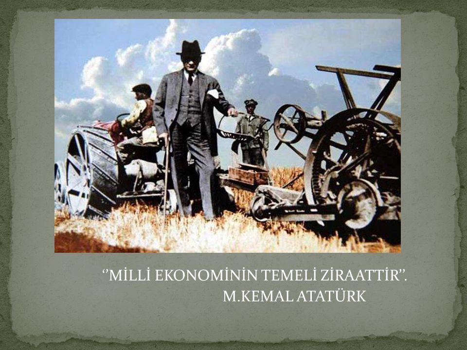 ''MİLLİ EKONOMİNİN TEMELİ ZİRAATTİR''.
