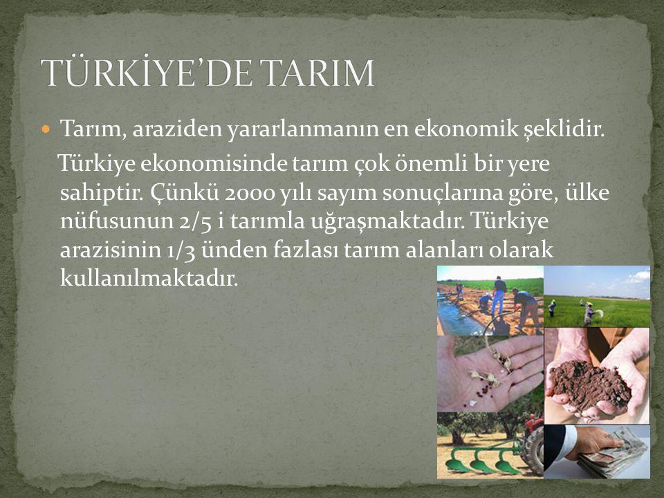 TÜRKİYE'DE TARIM Tarım, araziden yararlanmanın en ekonomik şeklidir.