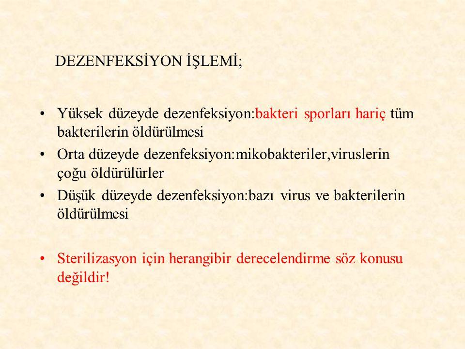DEZENFEKSİYON İŞLEMİ;
