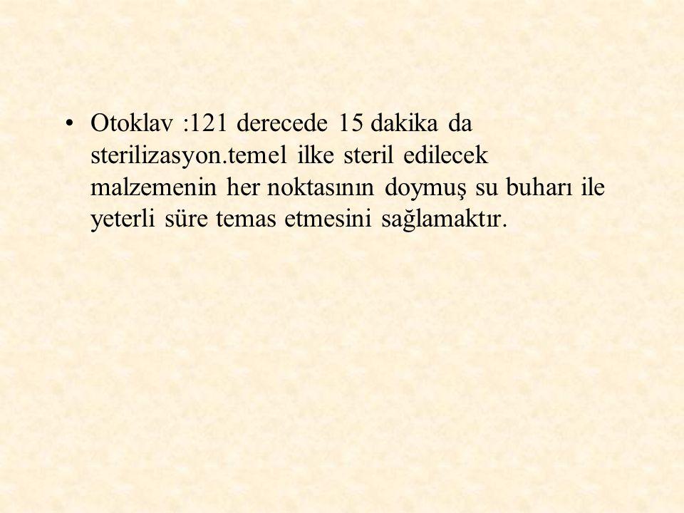 Otoklav :121 derecede 15 dakika da sterilizasyon