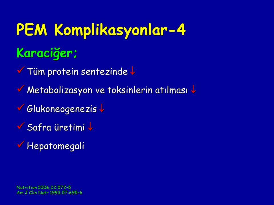 PEM Komplikasyonlar-4 Karaciğer; Tüm protein sentezinde 