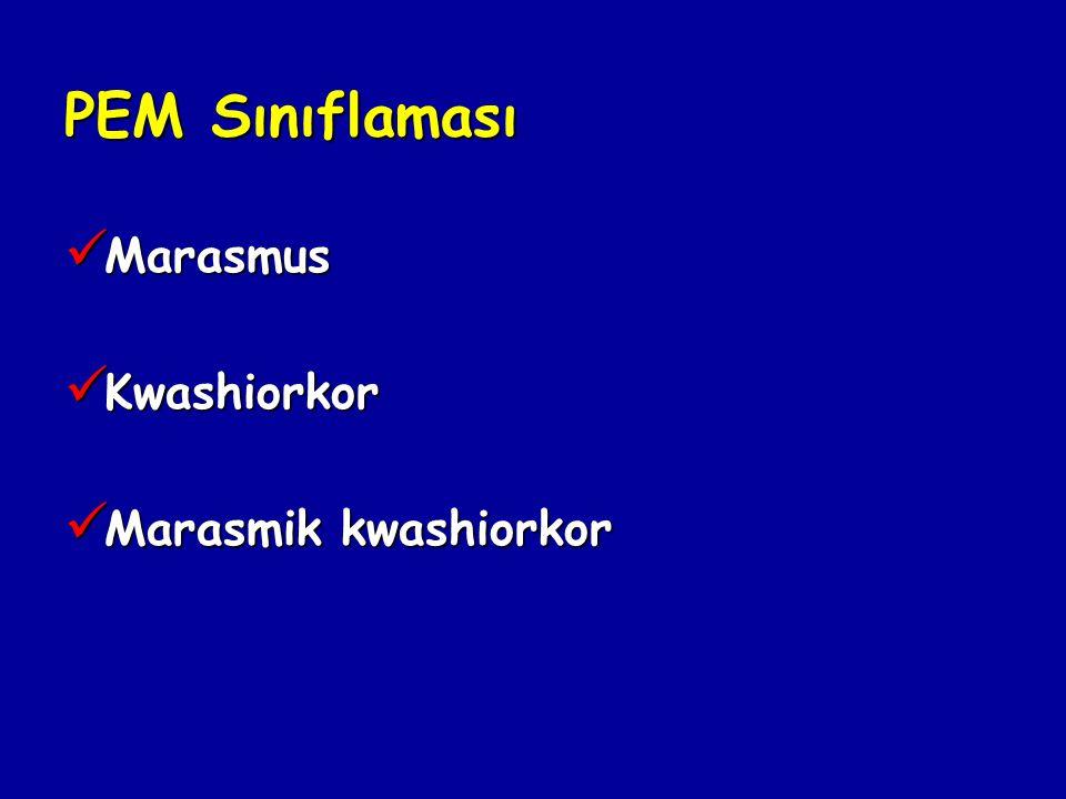 PEM Sınıflaması Marasmus Kwashiorkor Marasmik kwashiorkor