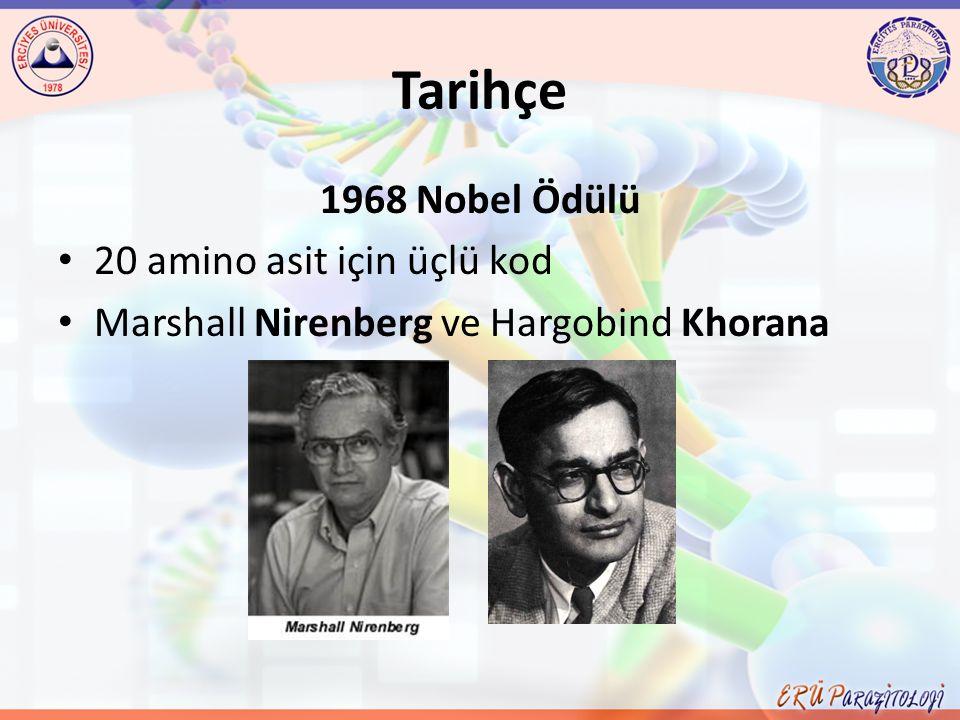 Tarihçe 1968 Nobel Ödülü 20 amino asit için üçlü kod