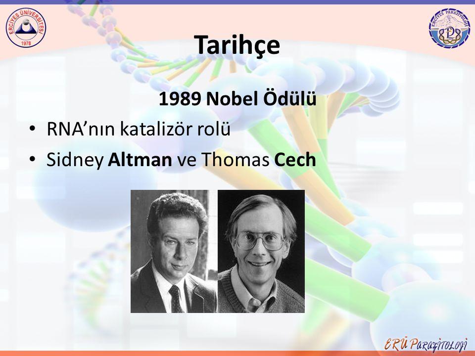 Tarihçe 1989 Nobel Ödülü RNA'nın katalizör rolü
