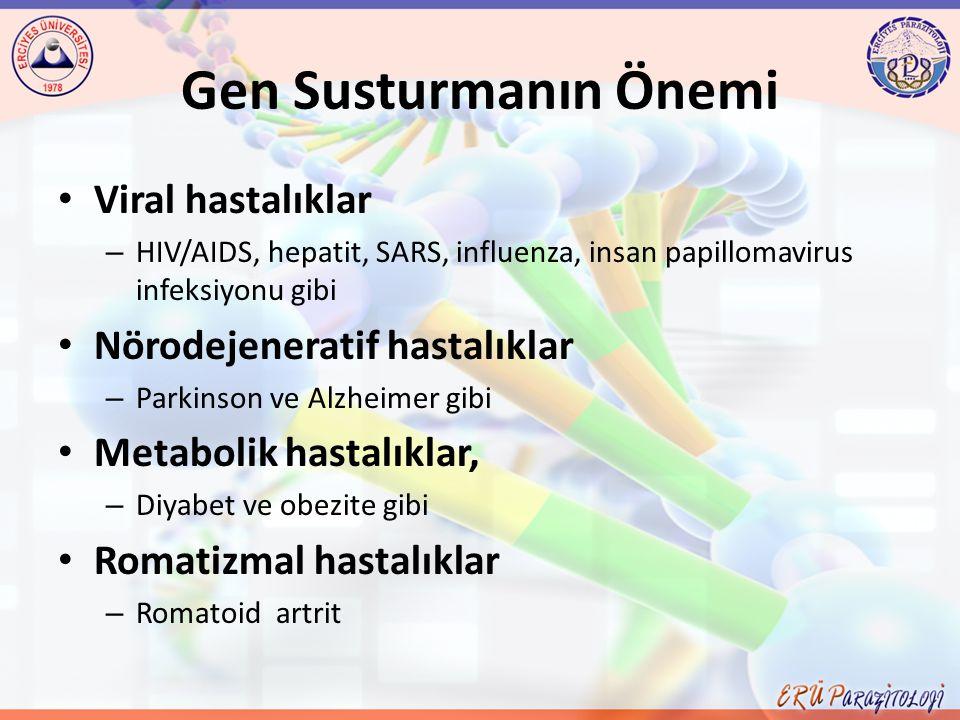 Gen Susturmanın Önemi Viral hastalıklar Nörodejeneratif hastalıklar