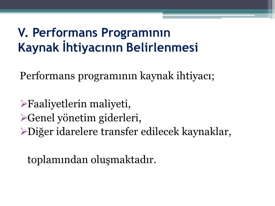 V. Performans Programının Kaynak İhtiyacının Belirlenmesi