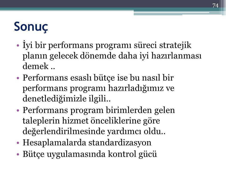 Sonuç İyi bir performans programı süreci stratejik planın gelecek dönemde daha iyi hazırlanması demek ..