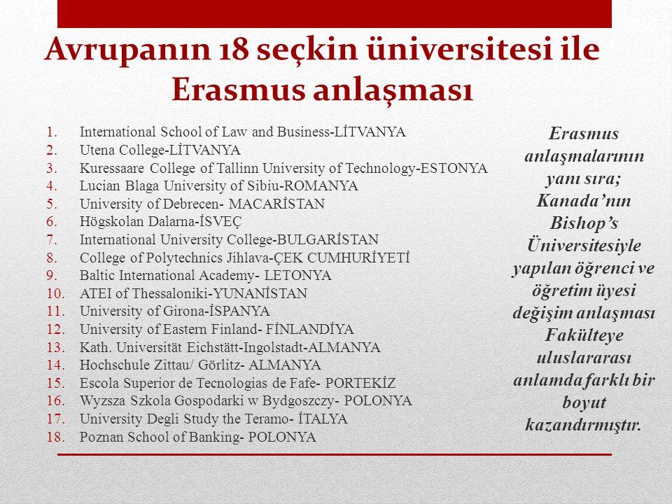 Avrupanın 18 seçkin üniversitesi ile Erasmus anlaşması
