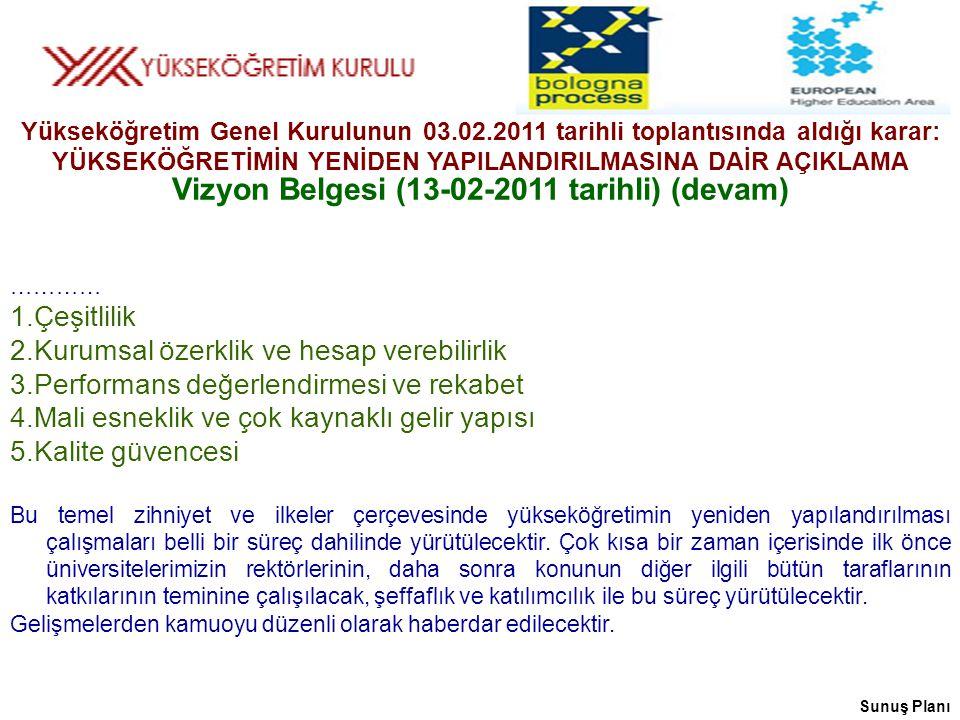 Vizyon Belgesi (13-02-2011 tarihli) (devam)