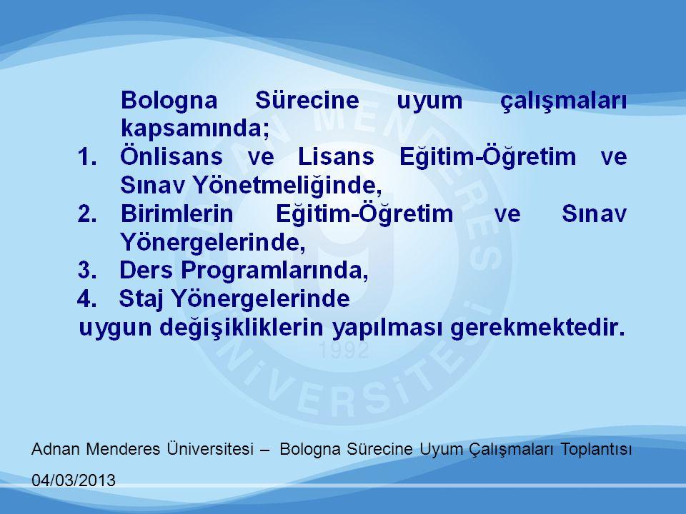 Adnan Menderes Üniversitesi – Bologna Sürecine Uyum Çalışmaları Toplantısı