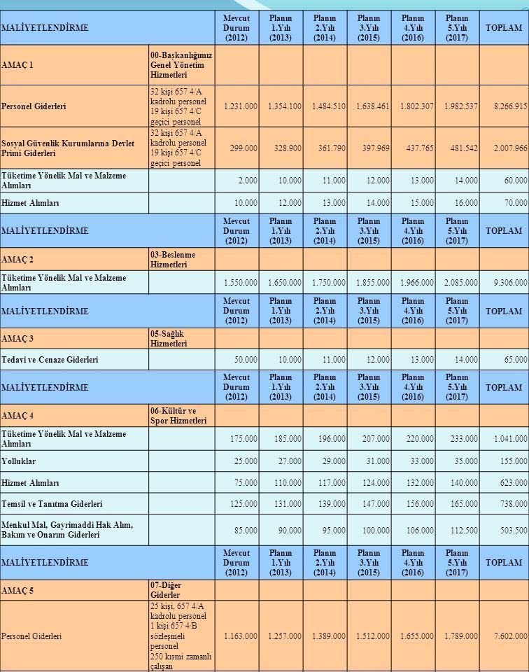 MALİYETLENDİRME Mevcut Durum. (2012) Planın. 1.Yılı. (2013) 2.Yılı. (2014) 3.Yılı. (2015) 4.Yılı.