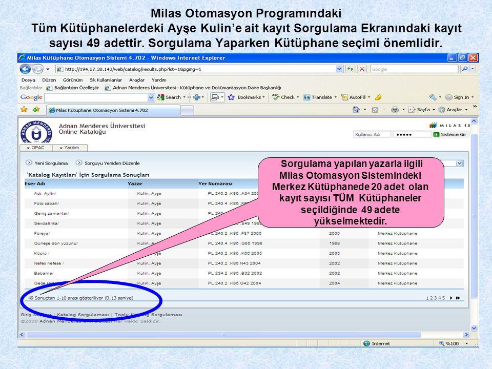 Milas Otomasyon Programındaki Tüm Kütüphanelerdeki Ayşe Kulin'e ait kayıt Sorgulama Ekranındaki kayıt sayısı 49 adettir. Sorgulama Yaparken Kütüphane seçimi önemlidir.